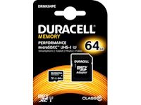 Duracell Performance 64GB microSDXC Class 10 UHS-I Memory Card + SD Adapter, 80MB/s