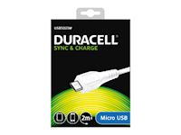Duracell Micro USB sync & charge cable 2 m - White